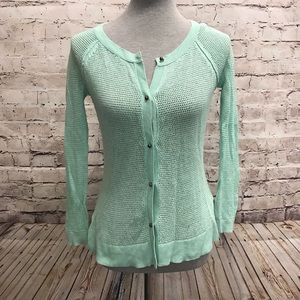 American Eagle Outfitters Mint Cardigan Open Knit
